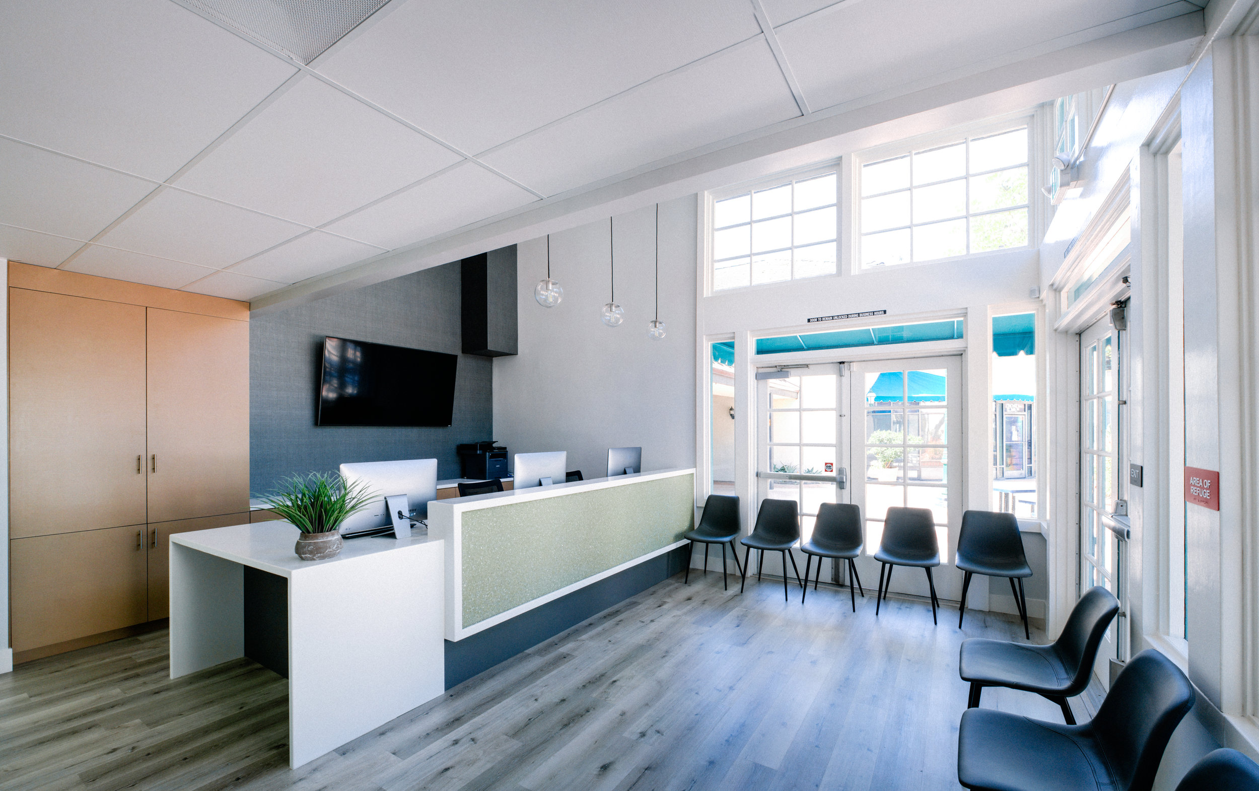RIVERA FAMILY CHIROPRACTIC - Rivera Family Chiropractic was a complete remodel of an existing restaurant and turn into a new chiropractic's clinic including space planning and design. Project consisted on the demolition of existing walls, ceiling, kitchen, and mechanical units to accommodate for a new layout to accommodate for x-ray room, office space, waiting areas, therapy rooms, and reception. New finishes color scheme and title 24 were part of the remodel.Location: 310 3rd Ave Chula Vista CA 91910