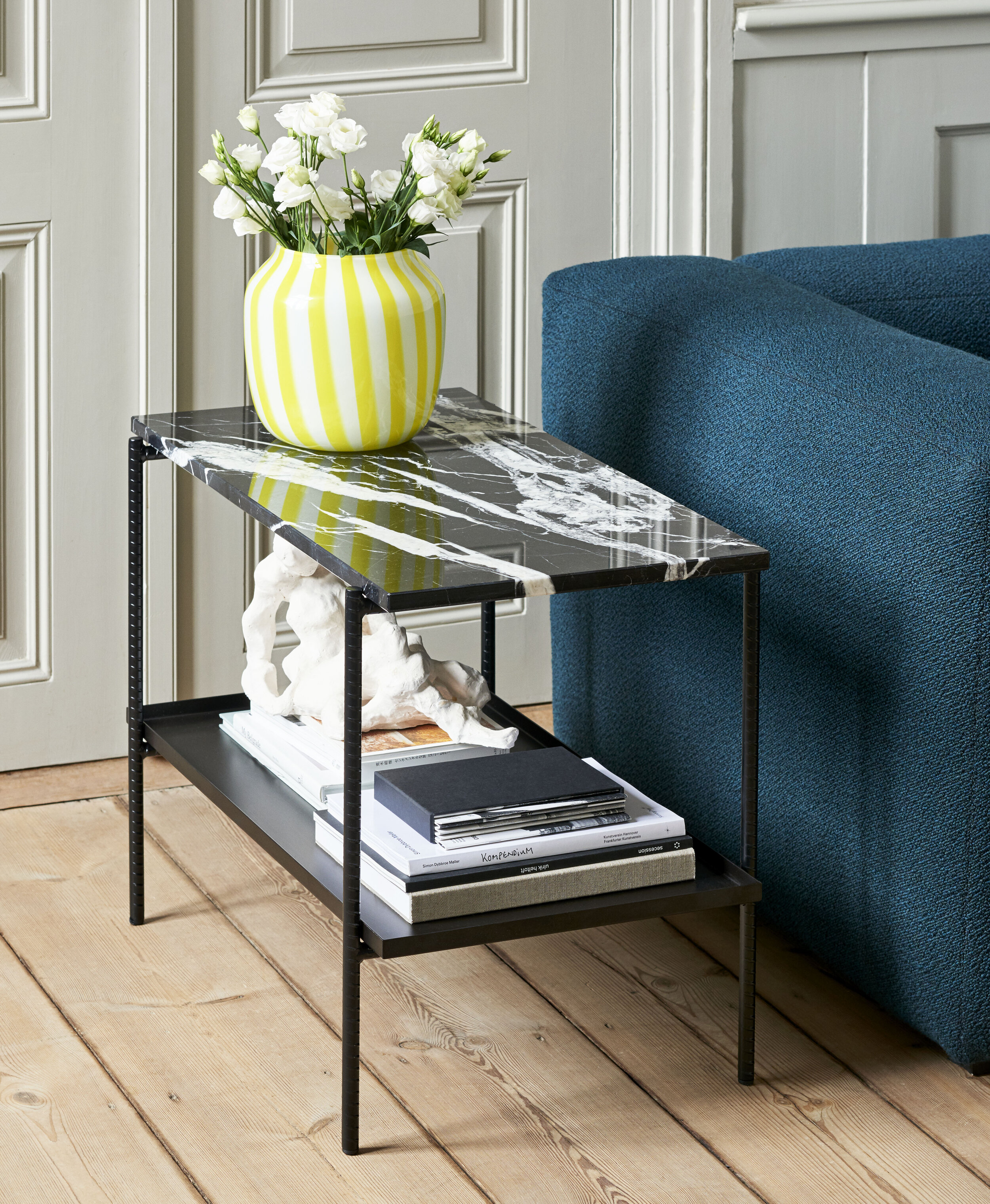 Rebar Side Table soft black w marble tabletop_Mags 2,5 seater Flamiber petrol blue J4_Juice Vase wide yellow.jpg