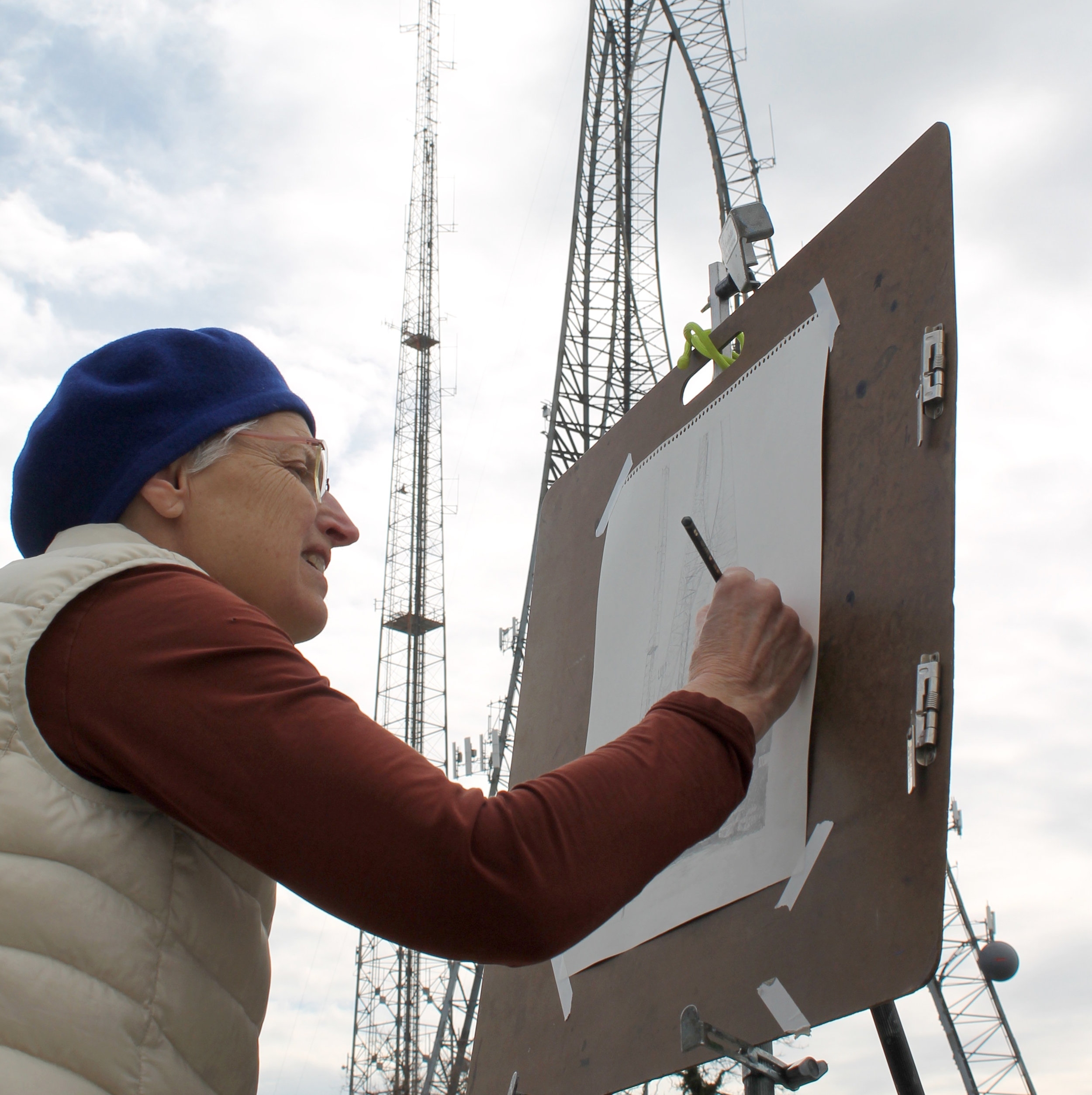 Drawing at the Hughes Tower in Brightwood, Washington, DC, photo by André A. Wilson