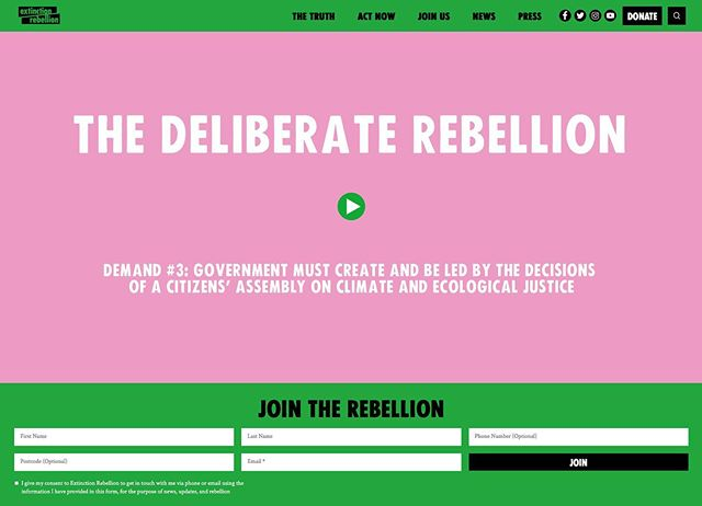 Our film on the @extinctionrebellion homepage. The Deliberate Rebellion explains why and how XR plan to have a Citizens' Assembly dictate policy in response to the climate and ecological emergency. #democracy #sortition #rebelforlife