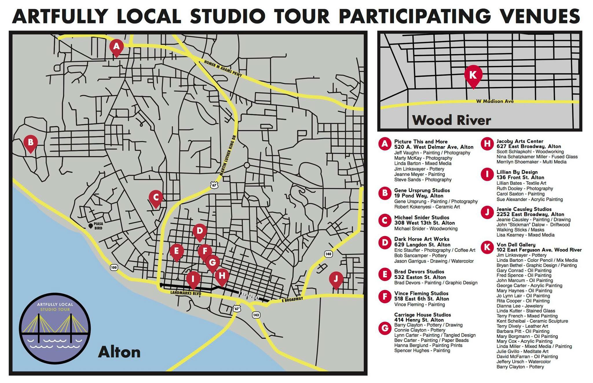 Map of participating studios and artists.