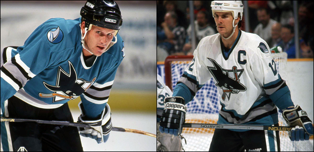 Caption: The San Jose Sharks home and away uniforms during their first several seasons in the NHL, featuring a notable presence of teal. Source: https://sacramento.cbslocal.com/2015/06/29/sharks-celebrate-25-years-unveil-new-logo/
