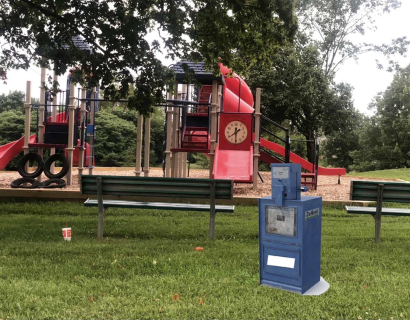 Screenshot from Kickstarter page showing concept of the dispenser in a public area.