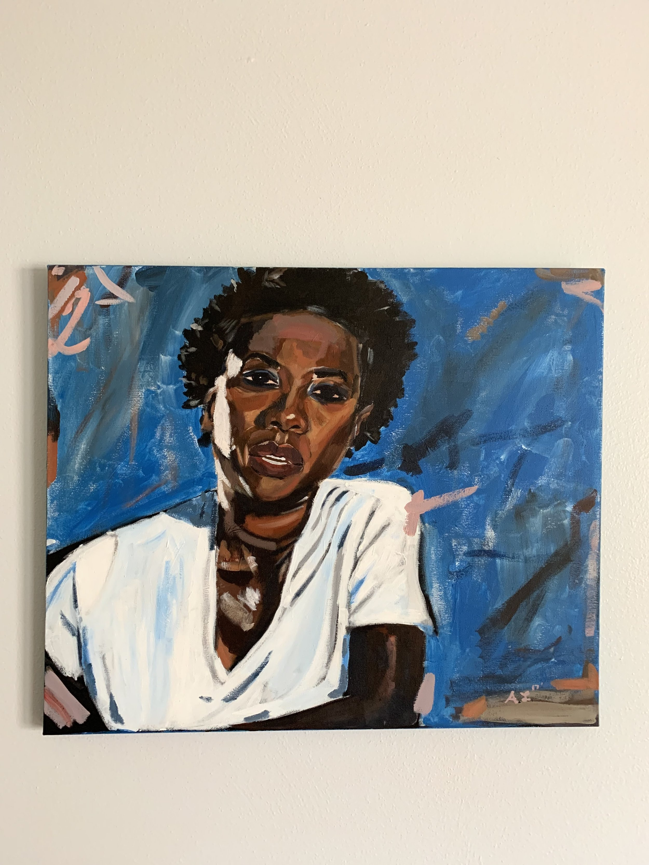 Painting Lewis created of Viola Davis.  Photo provided by Alvin J. Lewis