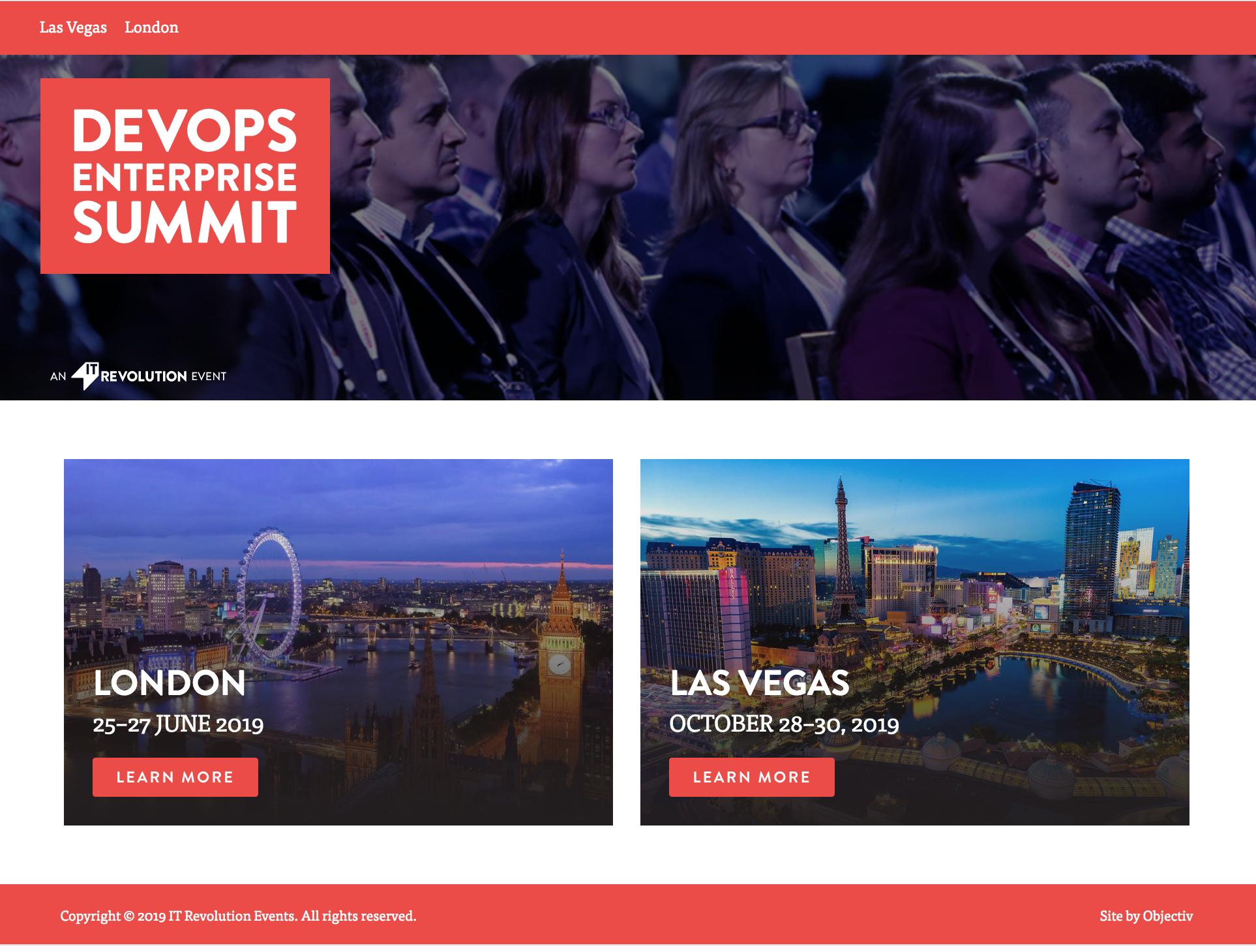 DevOps Enterprise Summit - Conference website and app content strategy
