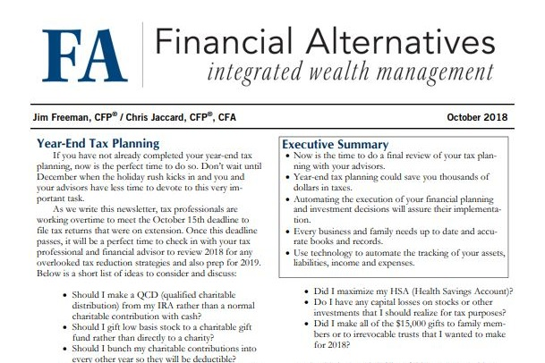 Planning Newsletter - Oct 2018 — Financial Alternatives