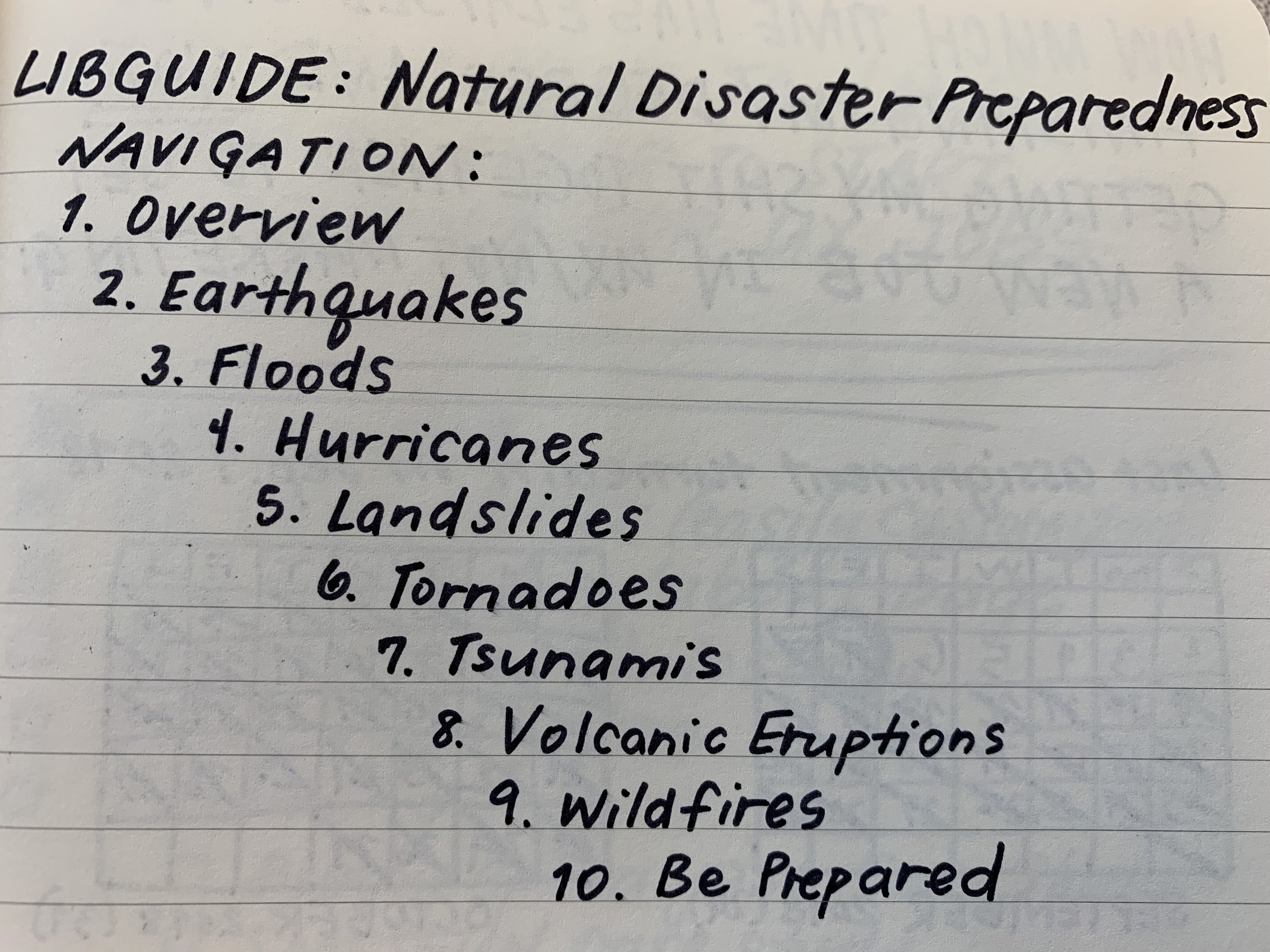 Pictured: the final list of the ten pages in the resource guide, including eight major types of natural disasters.