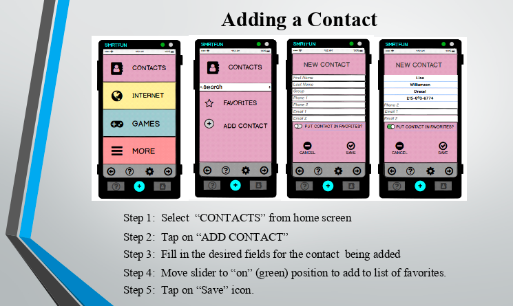 User workflow for how to add a new contact in the SMRTFUN Basic user interface.