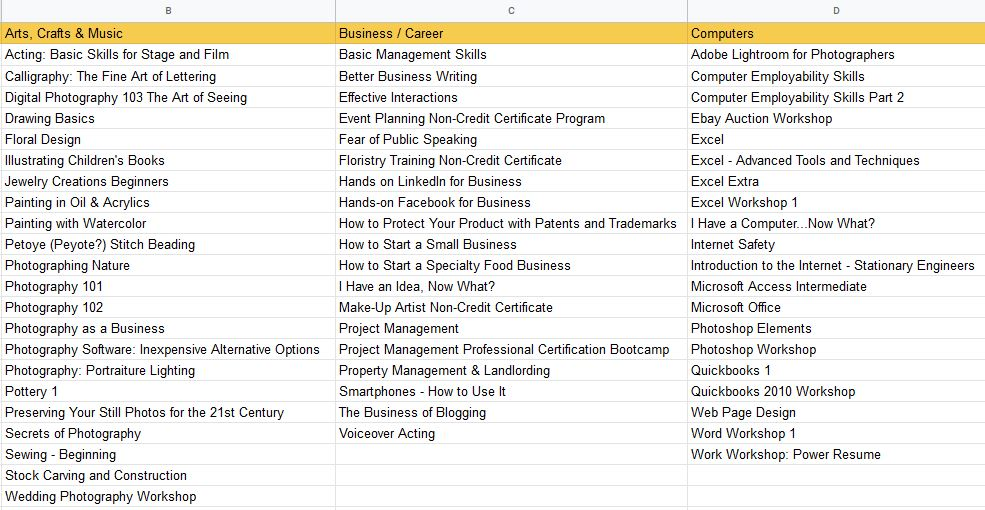 Screenshot from my initial spreadsheet listing out the existing course categories and all of the courses currently available in each.