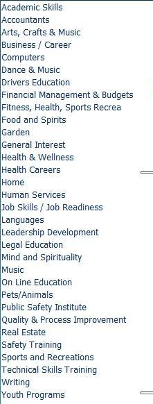Original course categories from 2017 online catalog.