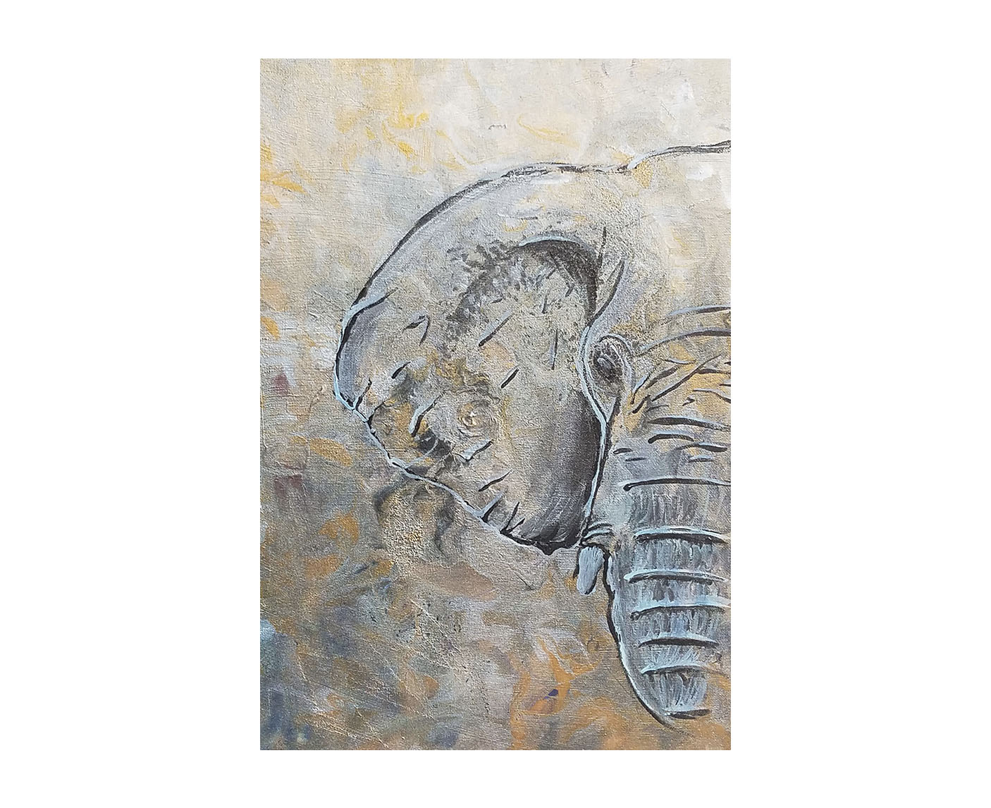 """Eminent""   16×20 Mixed Media on canvas  ""Elephants are the world's largest land-living mammal. Did you know the word ""elephant"" comes from the Greek word ""elephants"" which means ""ivory"". This is an Asian elephant and you can tell by its ears, they are smaller than African Elephants. They are Endangered and their population is decreasing because they are still hunted for Ivory, which is horrible. When I think of elephants I think of whales because one is the guardian of the ocean, elephants are guardians of the land. This painting is part of my Vanishing Species Collection."" - Bria"