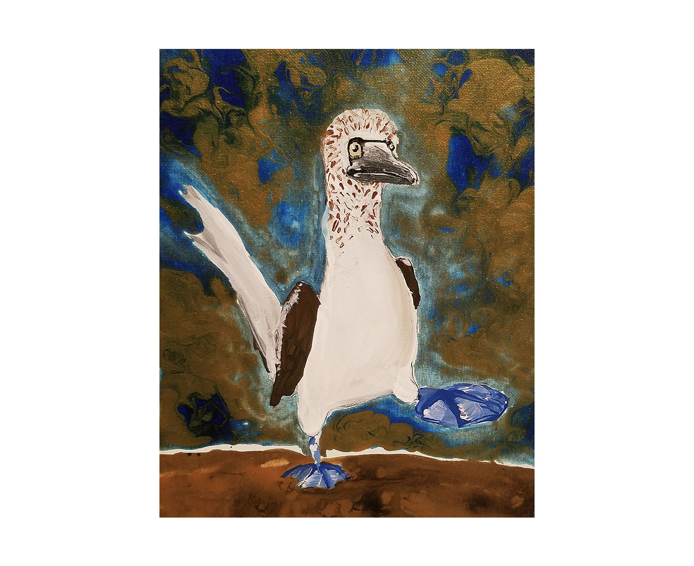 """Dancing Blue""   11x14 mixed media on canvas  ""This is the Blue footed Booby! I made this for my friends The Blue Feet Foundation where they sell really fun blue socks for species' awareness and conservation of the Galapagos Islands 💙💙 I've learned that not only do they dance to find a mate ( by impressing them with their blue feet) but the bluer the feet the healthier they are! This will be for sale on my website this week to fund #conservation and #AnimalWelfare"" - Bria"