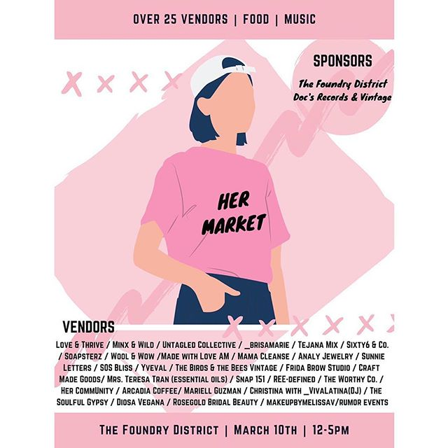 Hey! What are y'all doing this Sunday? Come out to The Foundry District and hang with us! @hermarket_fw is a new market in Fort Worth featuring all of the bad-A #girlbosses around town. Follow them to see all of the amazing vendors that will be set up! We'll have some really fun #doughcake flavors for sell, along with some mocktails from 12-5pm ✨