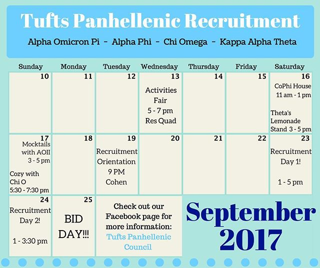 The official events for Fall Panhellenic Recruitment start this week! Learn more about it at Orientation on Tuesday at 9pm!