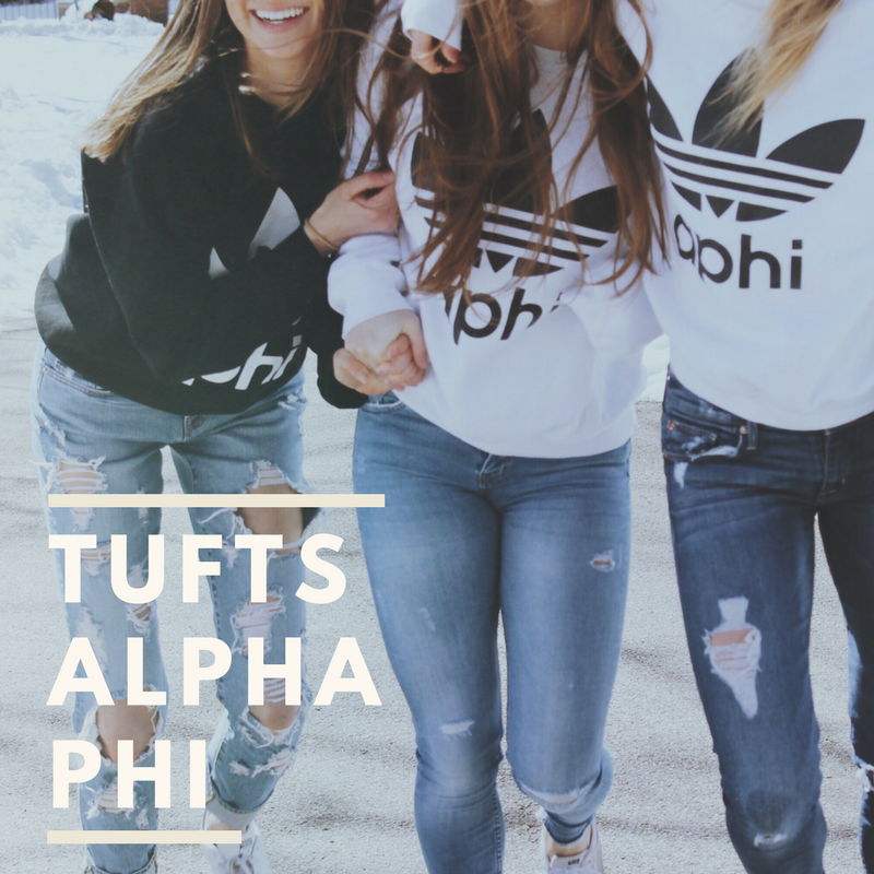 Alpha PHI - Nickname: AphiFounded: 1872Mission Statement: Alpha Phi is a sisterhood of women supporting one another in lifelong achievement.Philanthropy: Alpha Phi Foundation (Women's Cardiac Care)Website:https://tuftsalphaphi.tumblr.com/Facebook: https://www.facebook.com/AlphaPhiTufts/Instagram: https://www.instagram.com/alphaphitufts/?hl=en