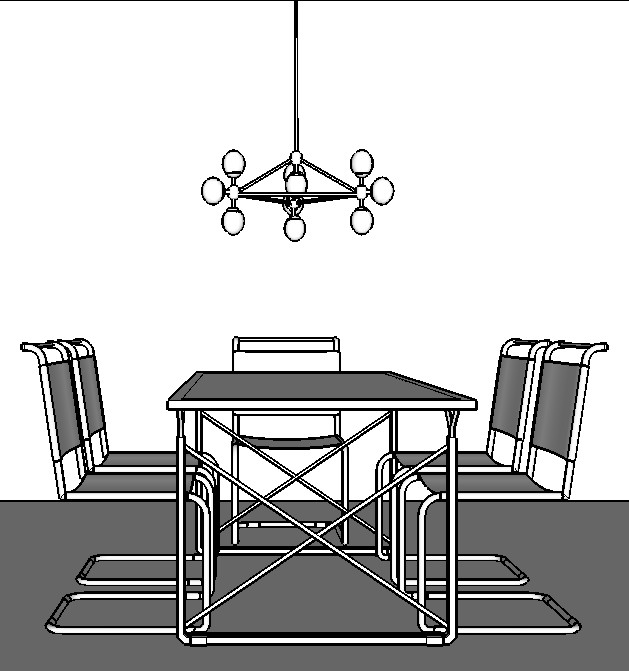 Chandelier over a rectangular table