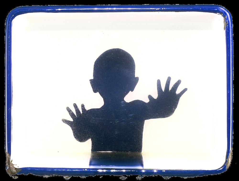 "Peekaboo.2002. 6""x8""x2"". resin and enamel tray"