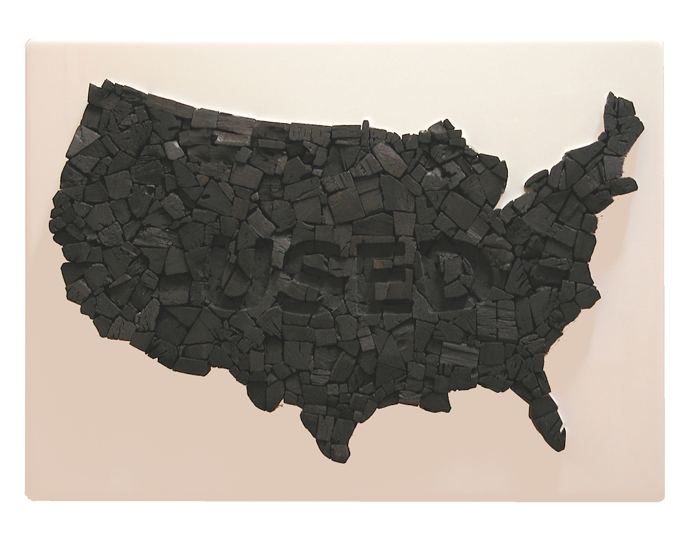 """USED. 2011. 14""""x19""""x2"""".charcoal resin on wood."""