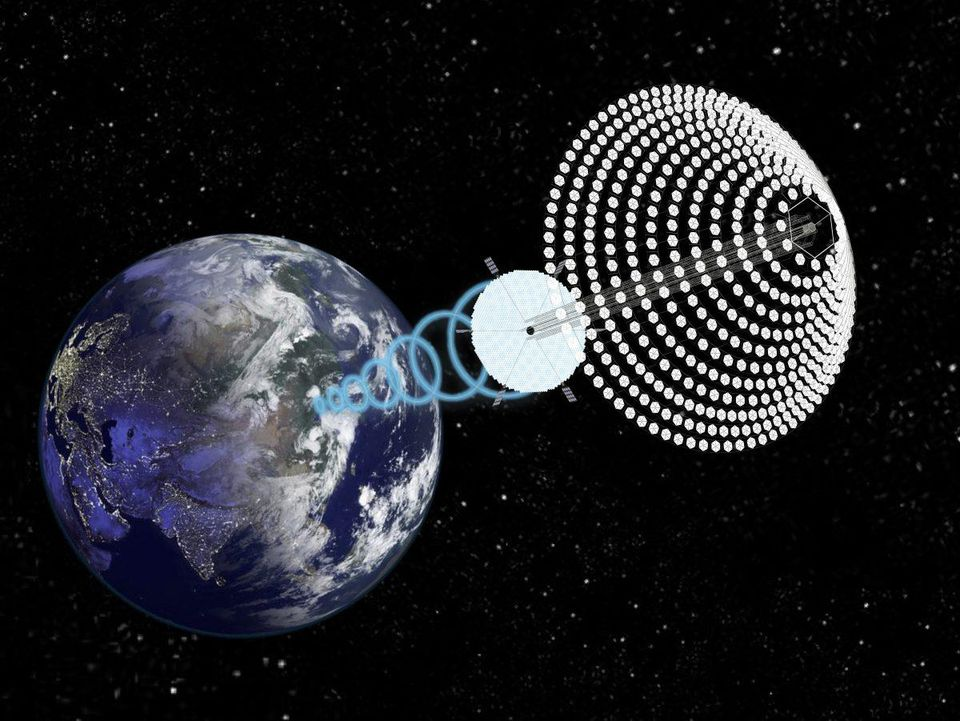 Proposed space solar array SPS-ALPHA, image and concept courtesy John C. Mankins