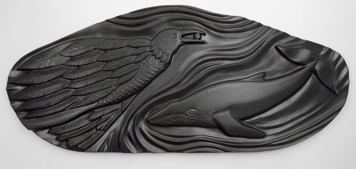 "Raven & Whale - Sometimes I don't understand the full meaning behind my creations.  I  follow what I see in my mind's eye and allow what comes forth to speak their own message to each individual viewer.Size: 36"" x 48"" x 2.5""Medium: Laminated maple re-purposed headboard, oil paints, poly-acrylic varnishPrice: $6,800Note: This sculpture is also available in bronze.  $7,200"