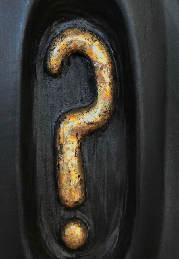 Detail of Question Mark. Copper, silver, gold, metallic leaf.
