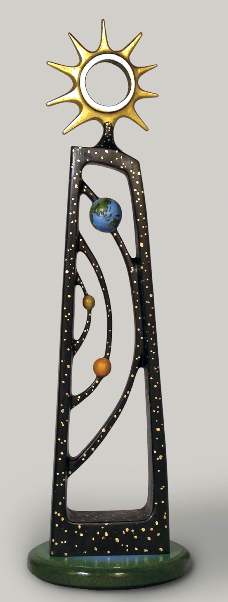 """Solar Charged - Need I say more?Size:35"""" x 7"""" x 7""""Medium:Basswood, oil paint, gold leafPrice:$2,200"""