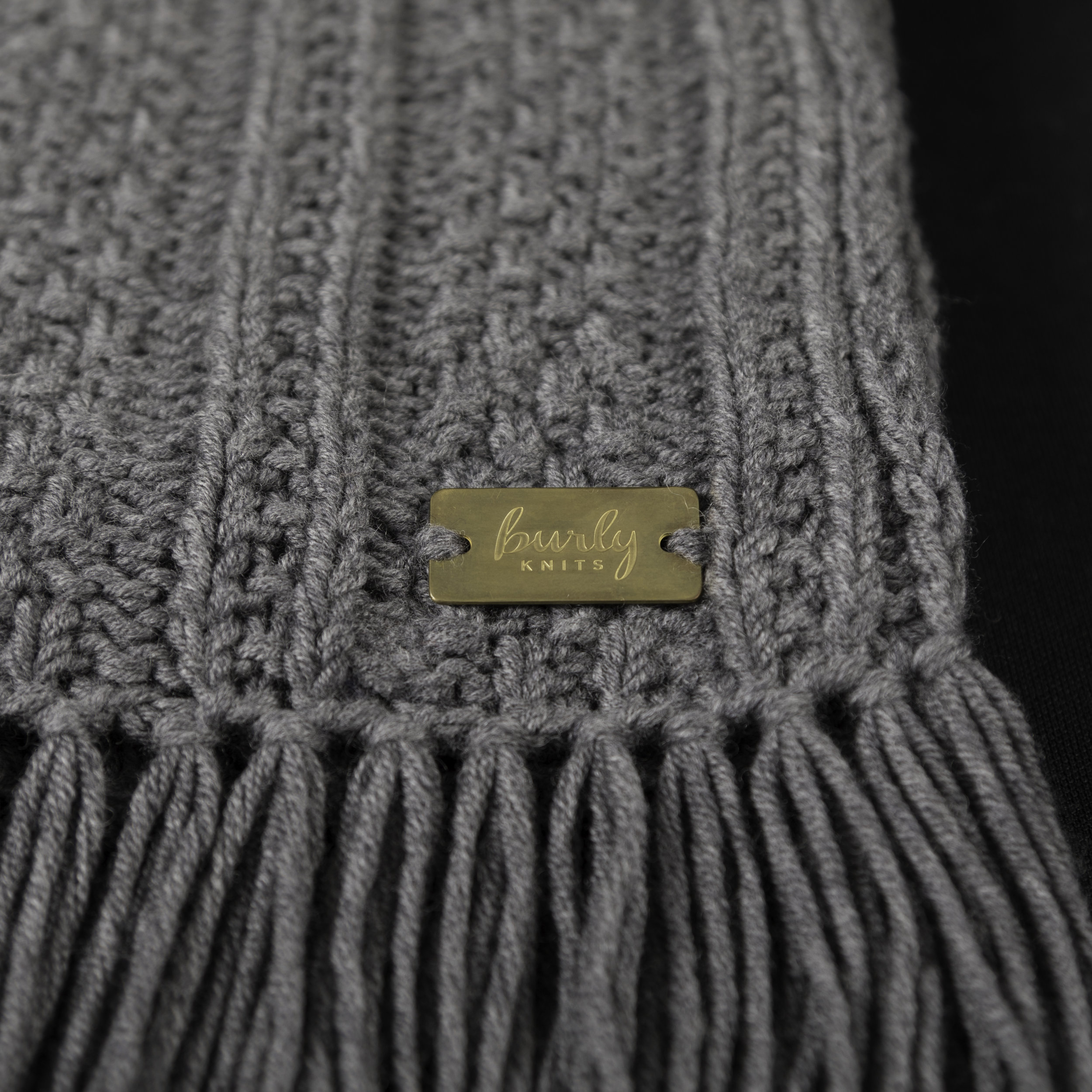 Textured Stripes Scarf - heathered charcoal grey