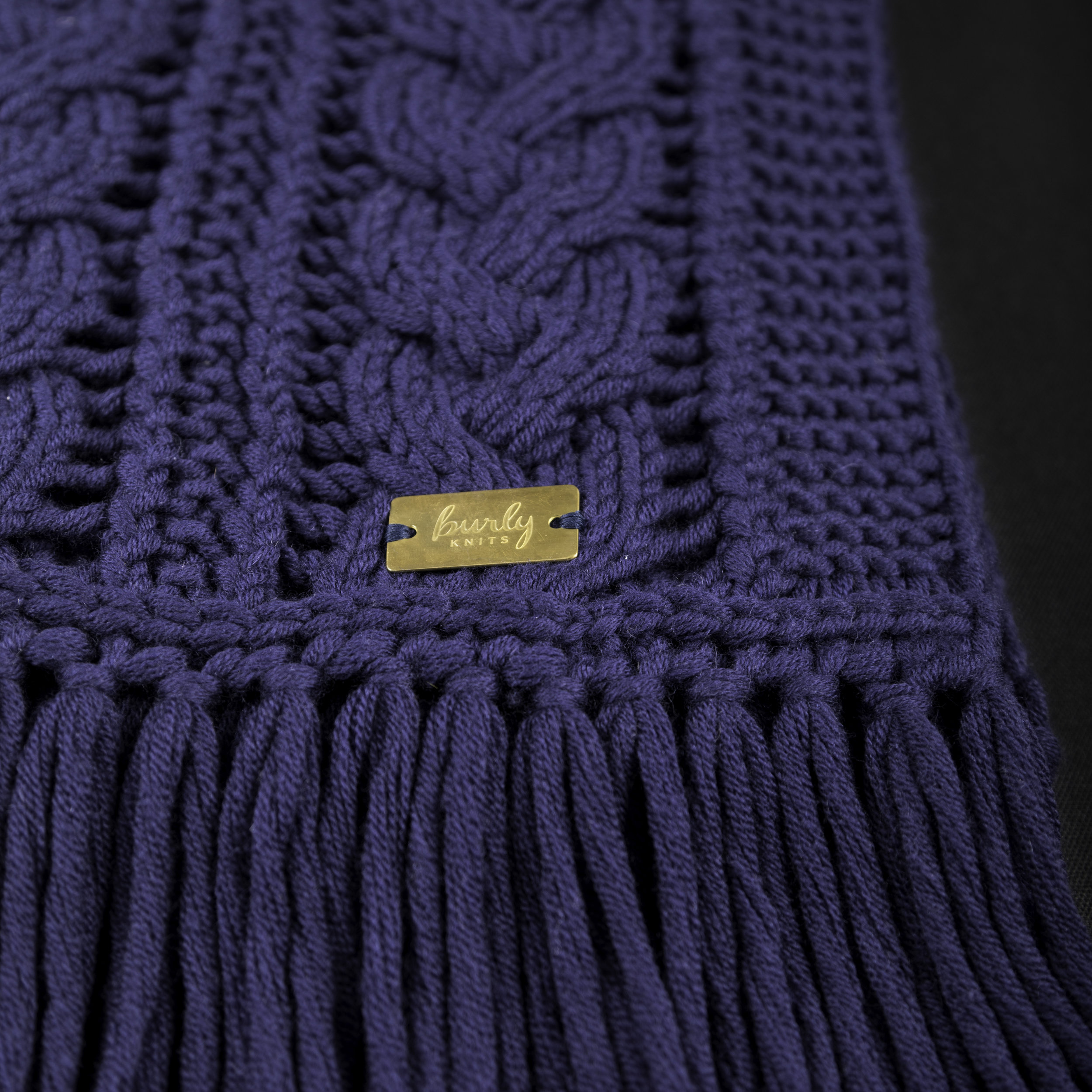 Navy Cable Scarf