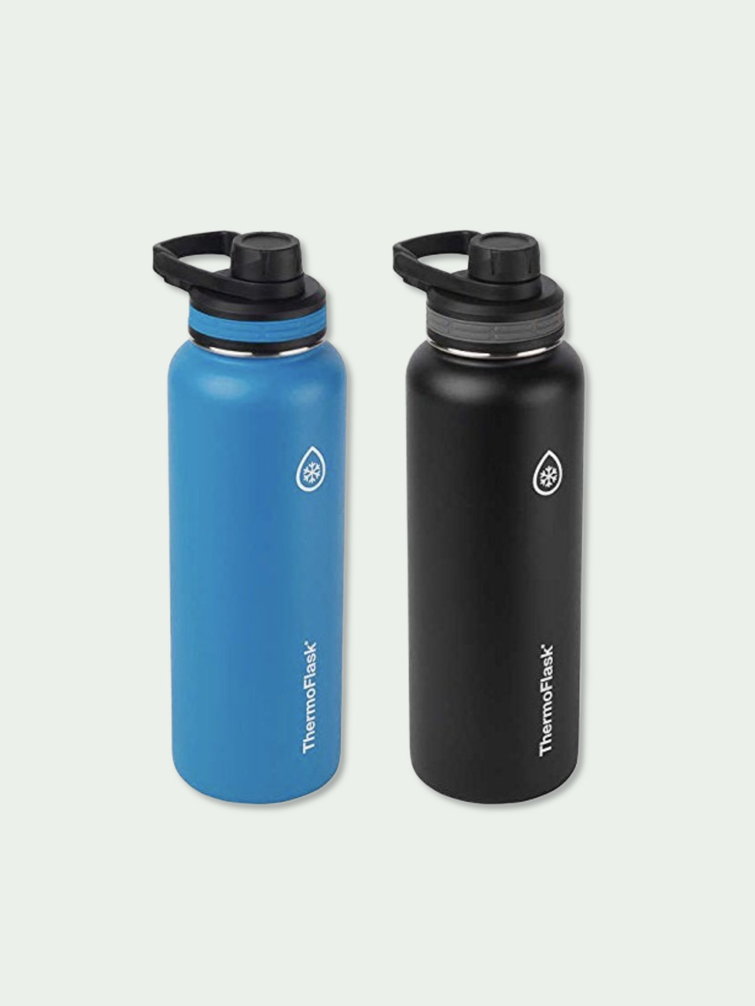 40 oz Thermoflask Water Bottles (2 Pack) - We've had our ThermoFlasks for a couple months. Each bottle holds 40 oz of liquid, which is perfect for staying hydrated throughout the day.These double-wall vacuum insulated stainless steel bottles prevent outside temperature from affecting the inside. The loop handles make it easy to take our favorite beverage with us wherever we go. The easy-to-drink spout with leak-proof lids make it convenient for car passengers to stay hydrated without getting water all over myself when the traffic light turns red on a dime. We like to keep one in the car at all times, and another bottle with us when we're walking around. These bottles will keep your drinks cold for up to 24 hours and hot for 12.