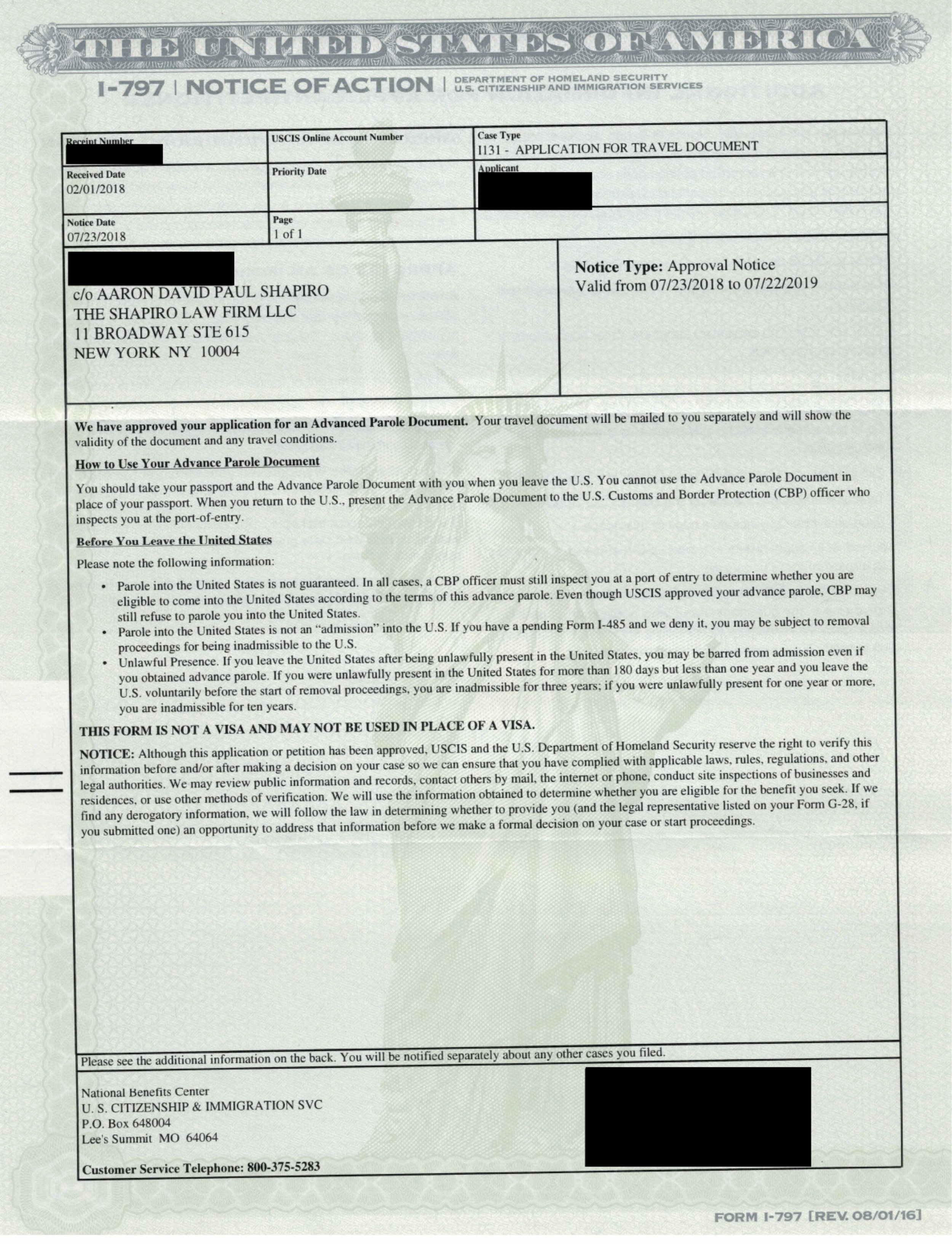 I-797, Notice of Action - I-131Approval Notice