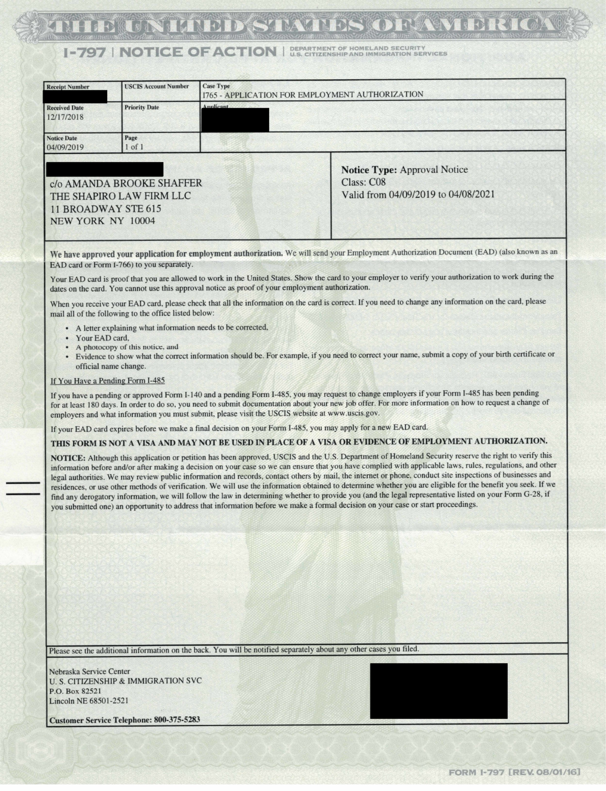 Form I-797, Notice of Action - I-765 Approval Notice (Asylum Applicant)