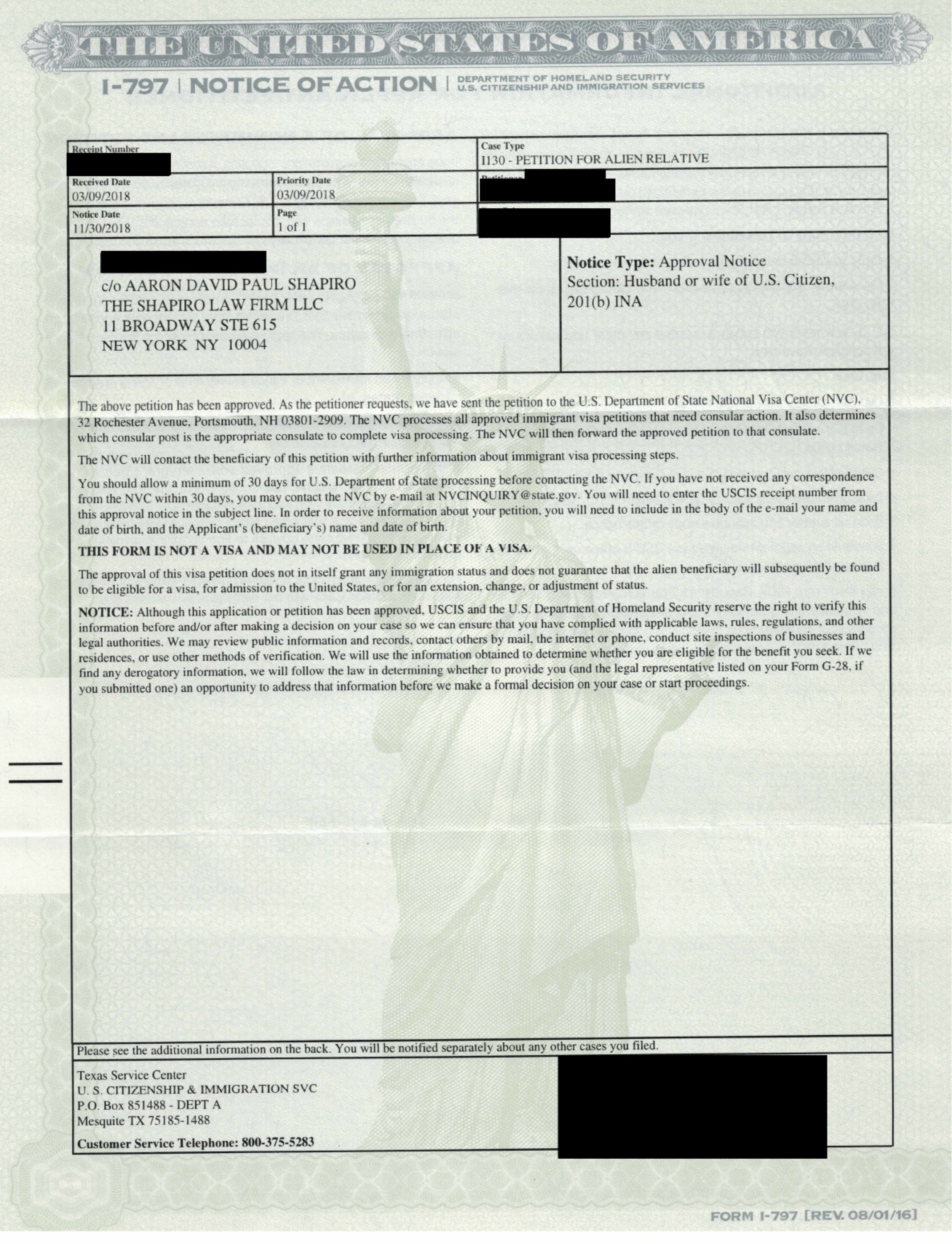 Case Status Update: Approvals- I-751 (10-Yr Green Card), I