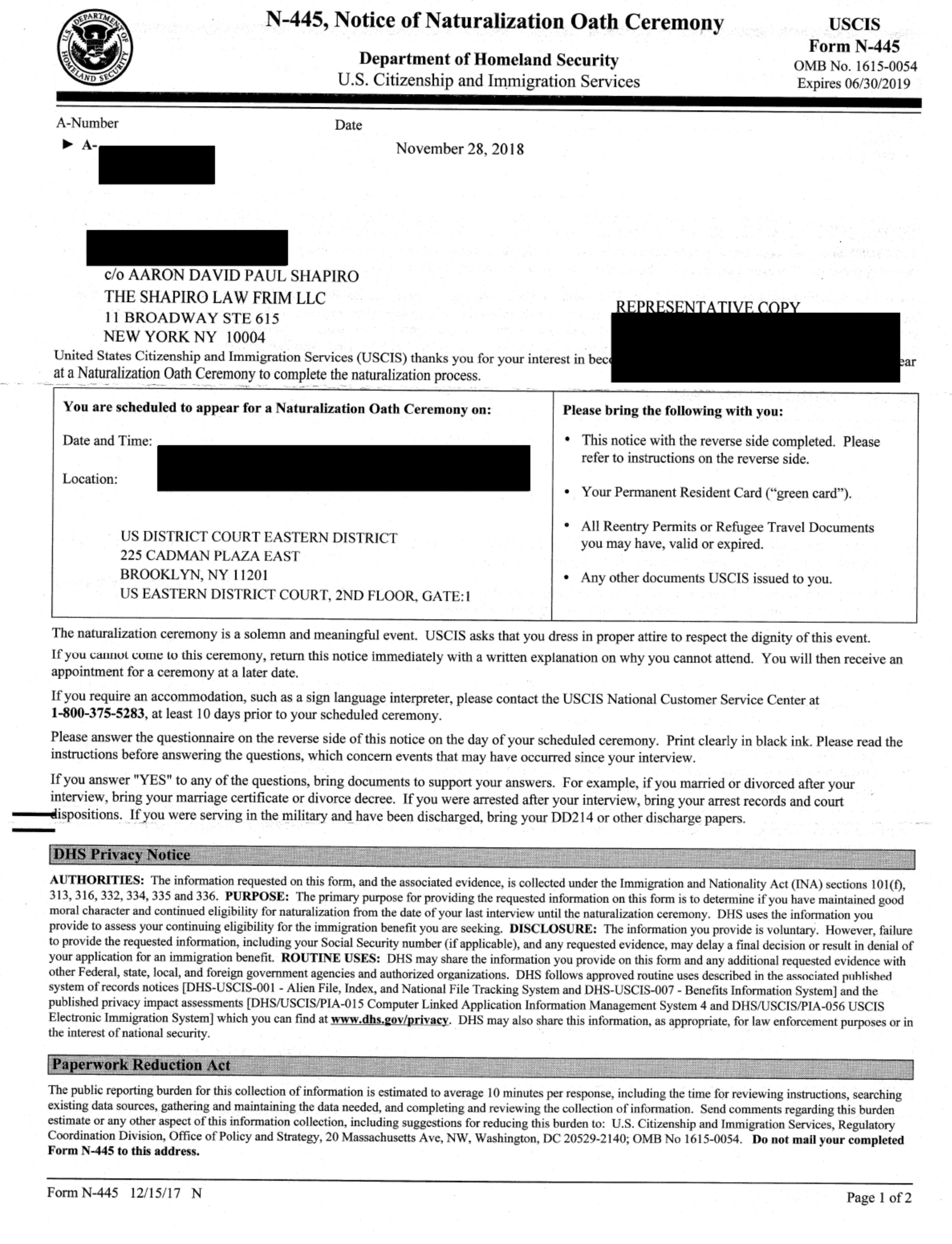 Form N-445, Notice of Naturalization Oath Ceremony Letter - Last step to becoming a U.S. Citizen!