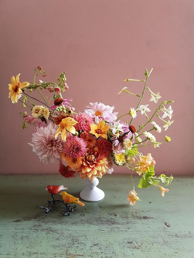 - Kukka-asetelmien tekeminen on hellyttävin rentoutumismuoto, minkä tiedämme. Leikkokukkien kasvattaminen on ihan yhtä mukavaa.Oletko intohimoinen puutarhuri, mutta et raaski leikata loistokkaita kukkapenkkejäsi? Haluatko persoonallisia kukkia omiin juhliisi? Janoatko viikottaista kukkameditaatiota? Tämä on sinulle!Illan aikana käymme läpi koko kasvukauden, maasta maljakkoon: mistä hankit siemenet ja mukulat, mitkä ovat parhaita kukkalajeja ja -lajikkeita, kuinka rakennat helpon kasvualustan, milloin kylvät siemenet, miten hoidat taimia, miksi kukat typistetään, miten hoidat kasvavia kukkia, kuinka tuet kukat ja milloin ne ovat valmiita leikattavaksi.Tietoa ja vinkkejä pursuava luentomme opettaa myös löytämään persoonallisia leikkokukka-aineksia luonnosta. Lisäksi opettelemme kukkien oikeaoppista poimimista, niiden valmistelua leikkokukiksi ja kukka-asetelmien huoltamista. Kirsikkana kakun päälle saat helpon ja kauniin paketoimisvinkin.Tämä kurssi on luento, kurssin muistiinpanot jaetaan osallistujille kurssin aluksi, joten mitään ei tarvitse tuoda mukana, tuut vain ja nautit.Inspiroidu etukäteen, ideoita löydät Hilmalan Pinterest-sivuilta.