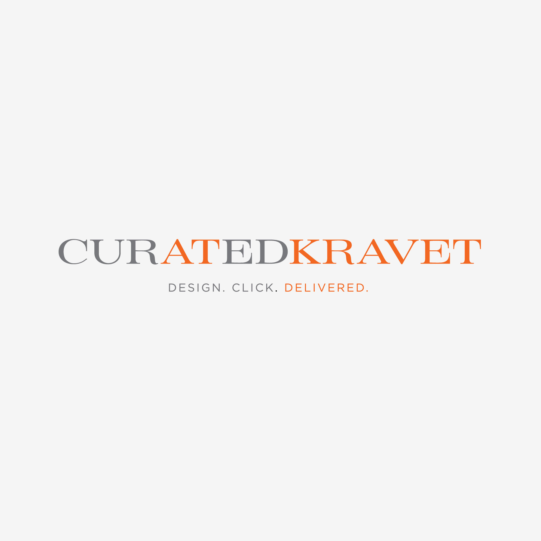 Curated Kravet - Logo and tagline developed to point designers to Kravet, Inc as an e-commerce source for shopping home furnishings products for their clients with emphasis on the simple process: design. click. delivered.