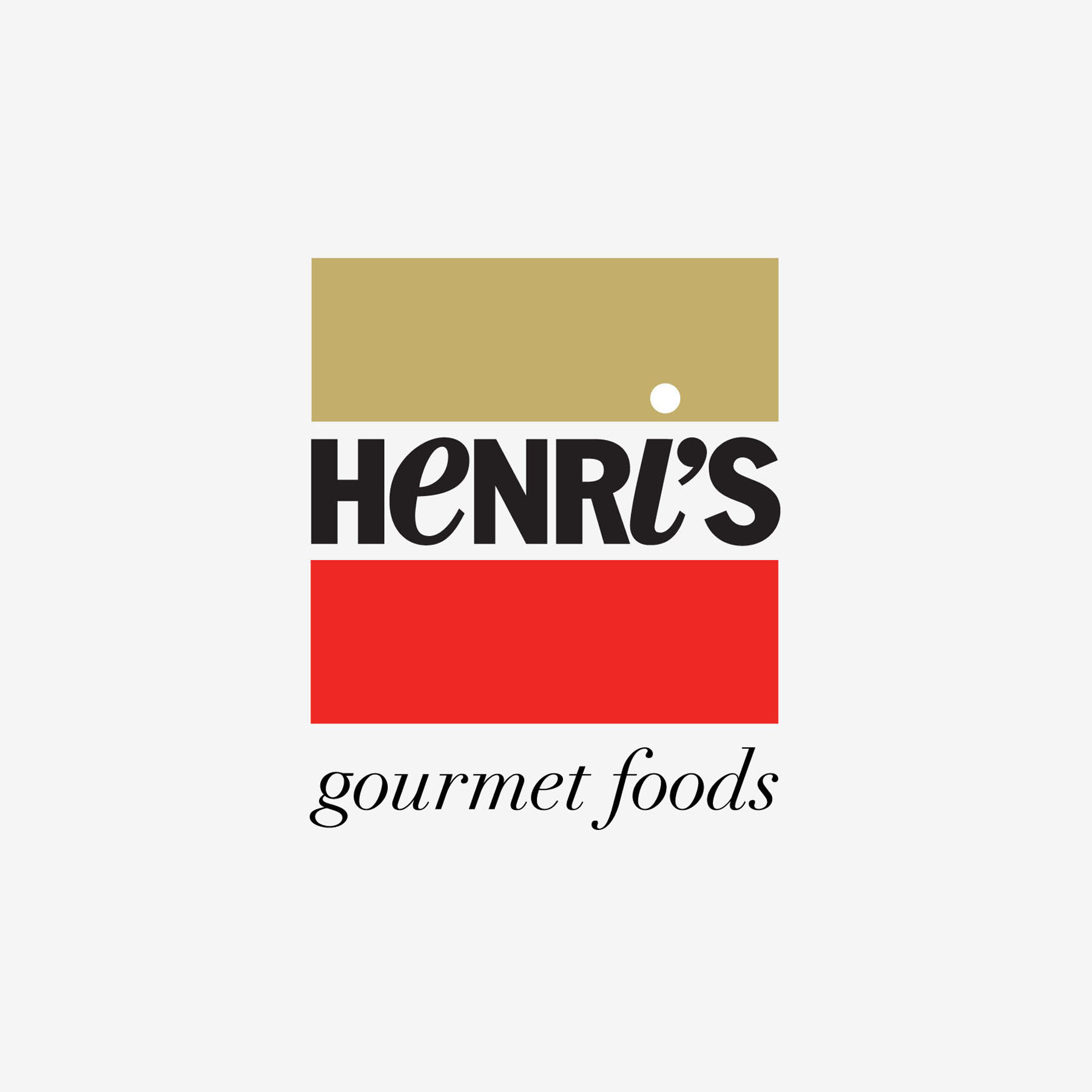 Henri's - Logo for NYC Gourmet Foods and Coffeeshop in the West Village, used for signage and packaging for the brand.
