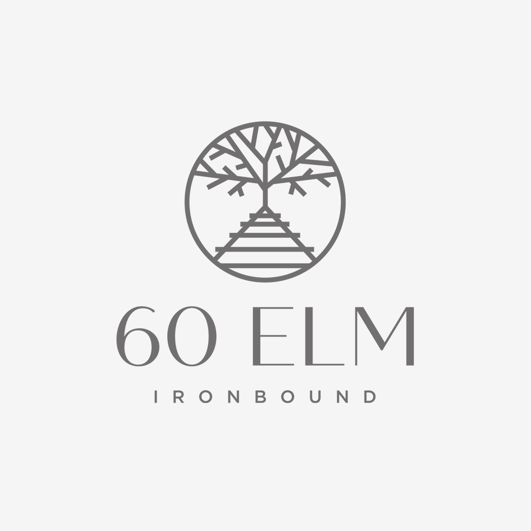 60elm - Real estate developer Tony Gomes (GSMG Group, LLC) envisioned a luxury apartment building in the 'Ironbound section' of Newark, NJ. We designed the branding for his logo and multiple signage applications to incorporate the ever-present railroad system that makes the Ironbound district so special.