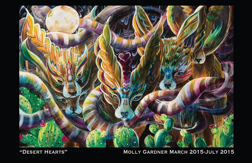 Molly Gardner Art - I am a painter out of Austin Texas, and recently moved to Denver. I use anything and everything Gaia to inspire me. Nature cannot ever be made better, but it is always a challenge to try and represent it the best I can. I paint abstracted animal and backgrounds, with oils or acrylic on large canvases. Everything around me is a constant source or wonder and inspiration that I am constantly using to try to grow more. I also love color and what it can do for your eyes and mind. I love to evoke emotions in people, usually those of happiness and joy . Bless the world you are in and love those around you. I LOVE YOU.I do live painting as well. this means I paint at shows such as STS9, Ott ,Shpongletron, Emancipator, Tipper, Michael Menert, Heyoka, Beats Antique and Subswara. Events and Festivals Such as Manifestation Celebration, Envision, Sonic Bloom, Art Outside, nocturnal, and and Gnarnia. I love painting to music with all of everyone's lovely energies being around me.