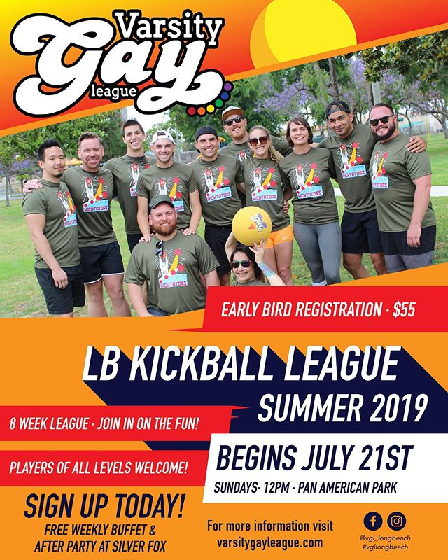 Registration is OPEN for Summer Kickball! https://www.varsitygayleague.com/long-beach