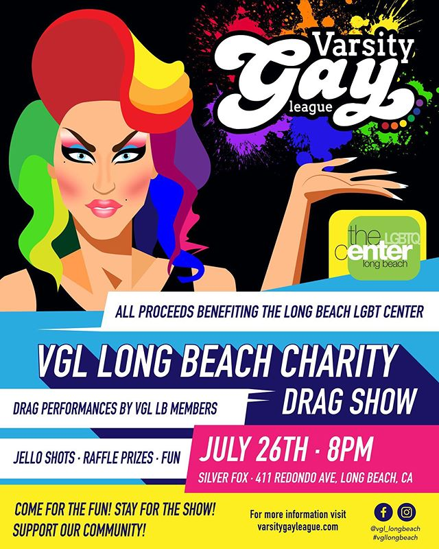 Our 2nd Annual VGL Drag Charity Fundraiser!!! Last year's was a huge success! All proceeds of the event benefiting @centerlb!! Stay tuned for which VGL members will be performing!!! #dragshow #charity #fundraiser #vgllongbeach #dragqueen #silverfox #jelloshots #raffleprizes #fun #community #lgbtq