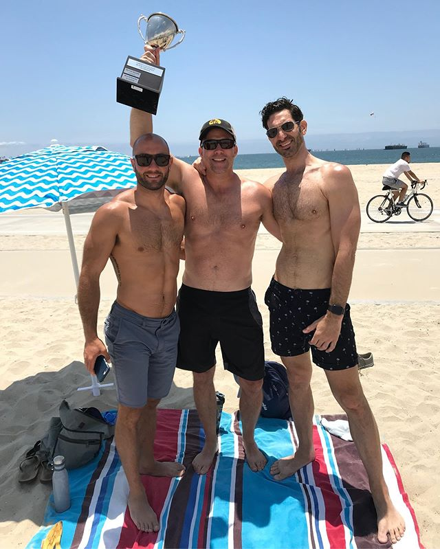 Congrats to Just The Tip for winning B Division of Beach Volleyball! 🏆🏐#winners #beachvolleyball #beach #gaybeachvolleyball #vgllongbeach #gaysports #lgbtq