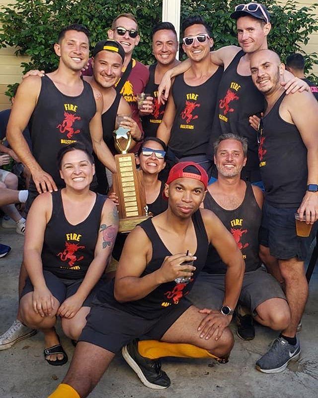 Congrats to the Spring Kickball winners, The Fire Ballstars!!! 🏆❤️#fireballstars #vgllongbeach #springkickball #gaykickball #winners #champs #fireball #silverfox #gaysports #lgbtq