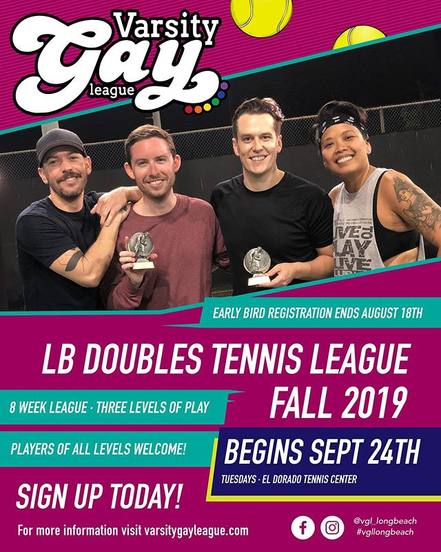 Fall Doubles Tennis! Sign up today! Starts very soon! 💪🏽🎾 #vgllongbeach #tennis #singlestennis #gaytennis #new #tennisleague #gaysports #lgbtq #join #register