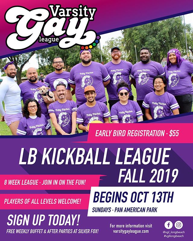 Registration is OPEN for Fall Kickball! #fallleague #varsitygayleague #vgllongbeach #gaykickball #lgbtq #register