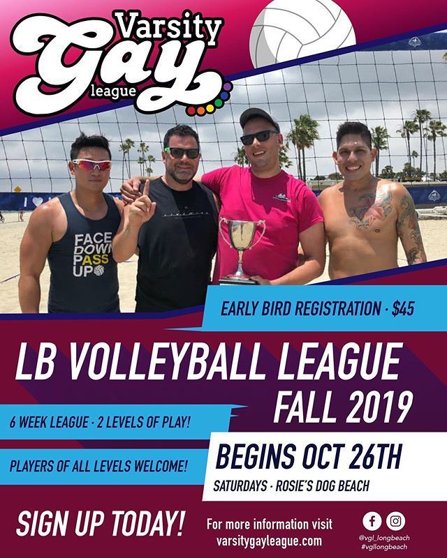 Registration is OPEN for Fall Beach Volleyball! #fallleague #varsitygayleague #vgllongbeach #beachvolleyball #lgbtq #register