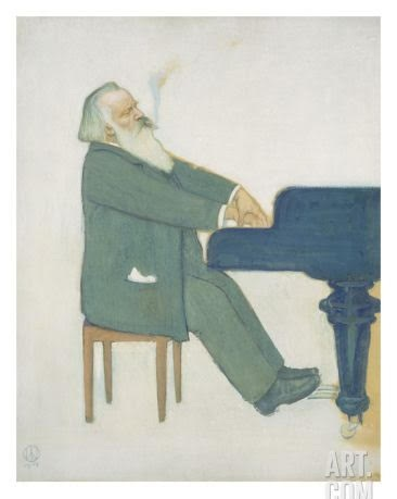 Cartoon of Johannes Brahms at the piano