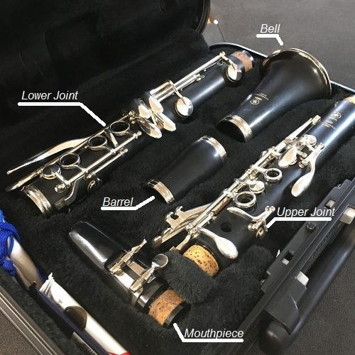 A disassembled clarinet in its case