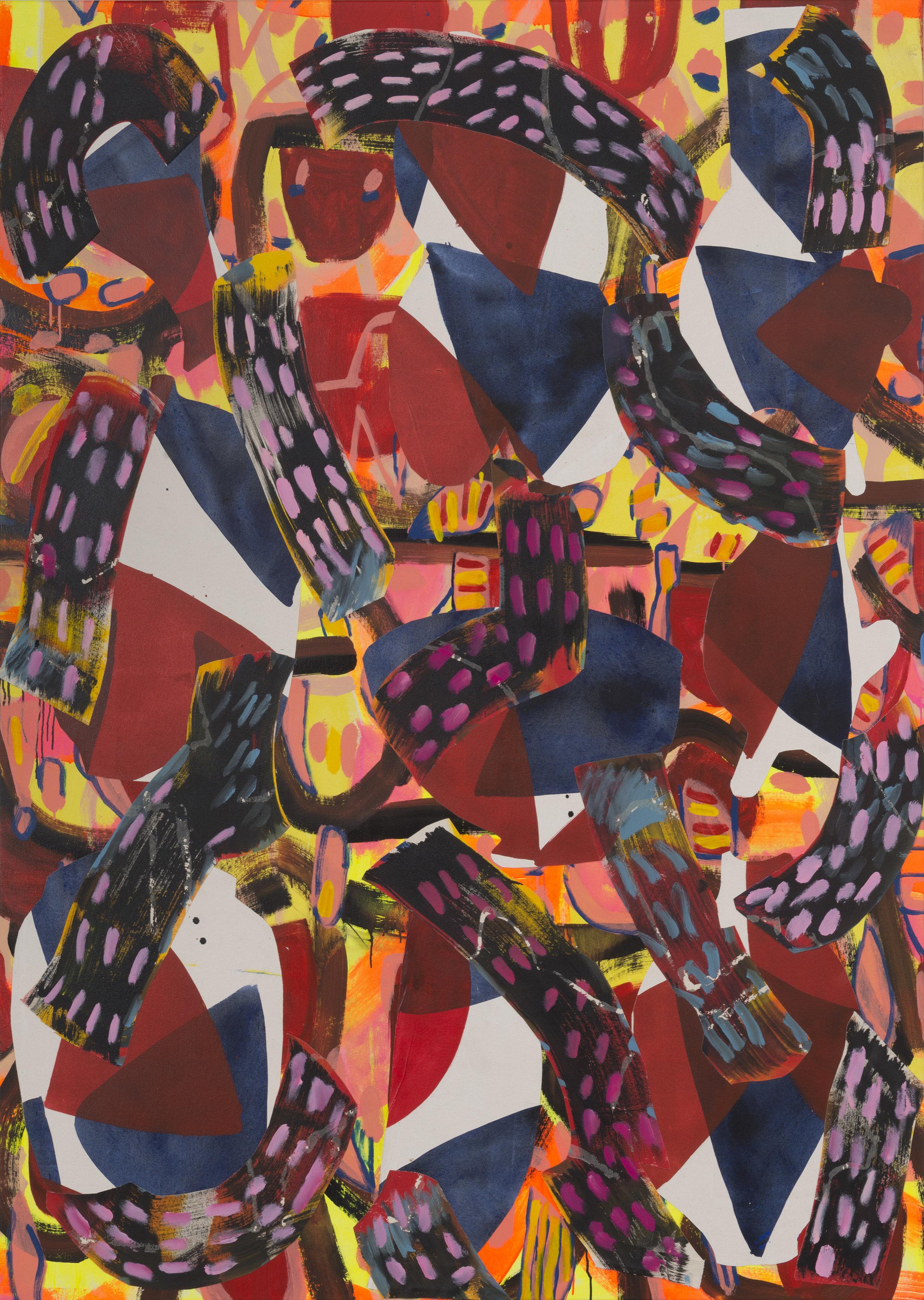 September 19, 2016 / Acrylic, Glue, Canvas / 83 x 64 3/4 inches