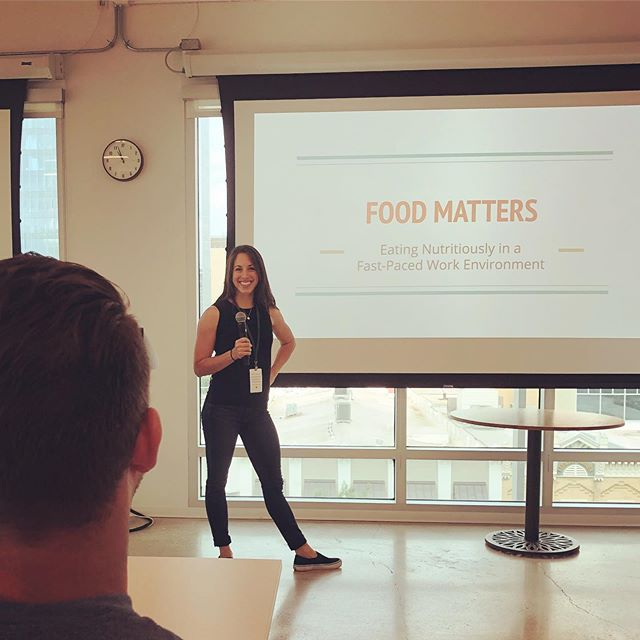 Thank you @dropbox for the opportunity to speak about nutrition & the impact of stress & sleep on eating behaviors! I had such a great time answering questions and clearing up diet confusion 🤯 . My take home points for the audience: . ✔️An ounce of prevention is worth a pound of cure. (The time is NOW! Eat healthy now, and prevent future ailments down the line). . ✔️Food impacts your brain and how you think (see: gut-brain bidirectional connection) . ✔️You can't OUT-DIET a stressful, sedentary, and sleepless life!! . . Big thanks to @jessejohnmartin for facilitating and encouraging me to be fearless. . . Happy Monday everyone!! I hope this post encourages you to tackle one healthy goal today!! 👏🏼👏🏼👏🏼 . . . . #nutrition #healthyfood #dropbox #learning #growthmindset #healthy #science