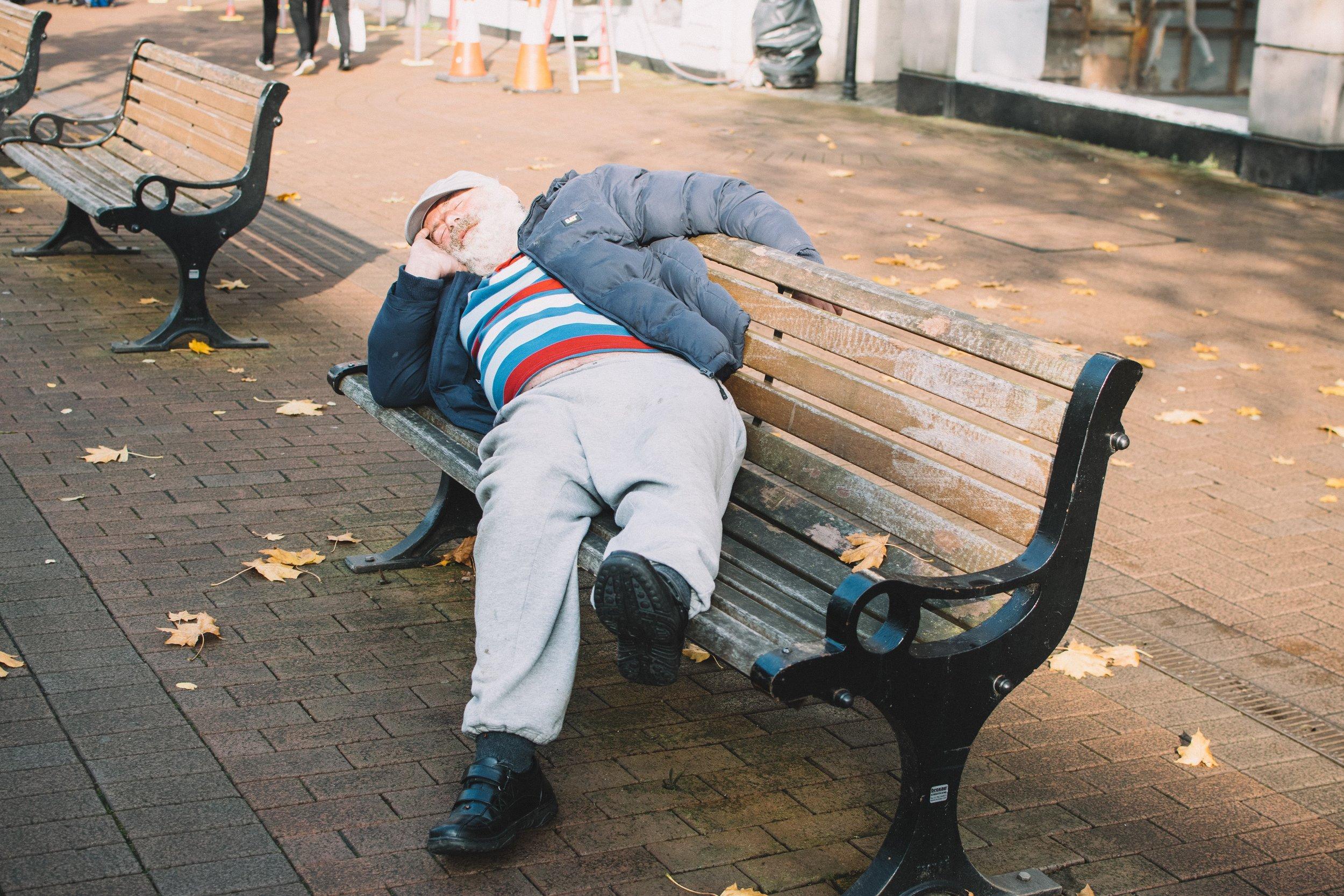 Harry Renton Hippo Magazine Old Man Sleeping on Bench